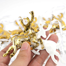 Wholesale Metal Christmas Tree Ornaments - Reindeer Christmas Tree Decorations 24Pcs Gold &White Metal Deer Crafts Christmas Gifts Christmas Tree Ornaments For Home