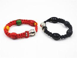 Wholesale Wholesale Rasta Beads - Portable Metal Bead Bracelet Smoking Pipe Jamaica Rasta Wristband Pipes 3 Colors Retail Men Women Cool Gifts Knot Rope Smoking accessories