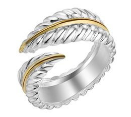 Wholesale Men Feather Ring - New Arrival Adjustable 925 Silver plated Feather Ring Stainless Steel VIntage Jewelry For Man Woman aa312