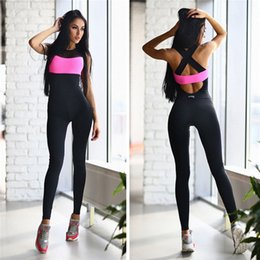 Wholesale Dance Fitness Clothes - Women Yoga Sets Fitness Sports Dance Weight Loss Yoga Suits Workout Clothes for Woman Long Jumpsuit Rose White Gray S-XL New 2501068