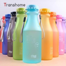 Wholesale Gym Bottles - Wholesale- TRANSHOME 550ml My Korean Water Bottle BPA Free Unbreakable Water Bottles Portable Leak-proof Kettles Yoga Gym 10 Colors