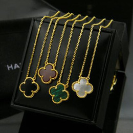 Wholesale Gold Leaf Clover Necklaces - Classic 18k Yellow Gold Plated Black White Green And White Ceramic Four Leaf Clover Flower Pendant Choker Short Chain Necklace For Women