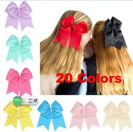 Wholesale Grosgrain Elastic Hair Bands - Free Shipping 17.5*21.5cm Large Solid Cheerleading Hair Bows Grosgrain Ribbon Cheer Bows Tie With Elastic Band For Baby Girl