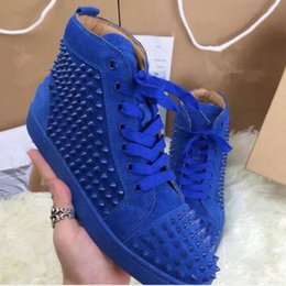 Wholesale Silver Spikes Studs - wholesale new Hot Sale Men Casual Shoes Red Bottoms Shoes For Men High Top Sneakers Suede Leather Flat Shoes Spike Studs Men Flats 36-47