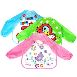 Wholesale Unisex Baby Coverall - Wholesale- Cartoon Animals Baby Bibs Long Sleeve Waterproof Coverall Toddler Newborn Scarf Feeding Smock For Children Baby Boy Burp Cloths