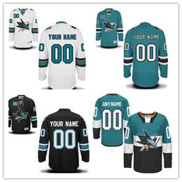 haie eishockey Rabatt Die Frauen-Jugend der Blau-Weiß-Knickenten-Grün-Schwarz-dritten Gewohnheit San Jose Sharks Mens personifizierte jede mögliche Name genähte Eishockey-Jerseys S-4XL