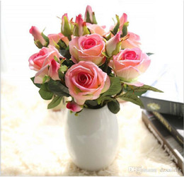 Wholesale Wholesale Silk Flowers Picks - Velvet rose pick 8 C artificial silk flowers 3 heads 37cm L for Valentine's day wedding party home holiday decoration 03334