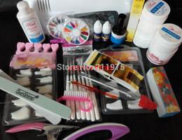 Wholesale Nails Gels Usa - Wholesale- Pro Nail Art UV Gel Kits Tool UV lamp Brush Remover nail tips glue acrylic UW Shipping from USA warehouse starter