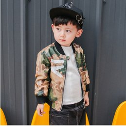 Wholesale Stand Up Collar Spring Jacket - Children leather clothes boys stripe camouflage uniform 2017 Autumn kids zipper stand-up collar jacket boys fashion clothes C0053