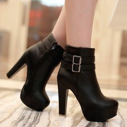 Wholesale Womens High Heel Dress Boots - Wholesale- Womens Faux Leather Comfortable Ankle Boots Platform High Heel Booties for Women Fashion Buckle Winter Dress Shoes Black White
