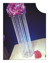 Wholesale Wholesale Acrylic Flower Vase - new crystal design clear hanging acrylic crystal bead flower vase for wedding table