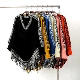 Wholesale Cashmere Poncho Black - 2017 Winter New Women Batwing Sleeve Tassels Hem Style Cloak Poncho Cape Tops Knitting Sweater Coat Shawl 6 colors Casual jacket
