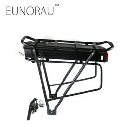 Wholesale E Bicycle 36v - 36V 17Ah 1203 rear rack battery for electric bicycle Black 26inch 28inch 700C e Bike Luggage Rack Double Layer Bicycle lithuim Battery