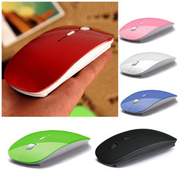 Wholesale Thin Computer Mouse - 2017 New Style Candy color ultra thin wireless mouse and receiver 2.4G USB optical Colorful Special offer computer mouse Mice