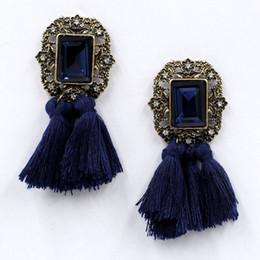 Wholesale Bib Earrings - New 2017 fashion jewelry hot sale women crysta vintage tassel statement bib stud Earrings for women jewelry Factory Price