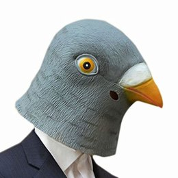 Wholesale Facing Giants - Wholesale-Halloween Pigeon Mask Latex Giant Bird Head Cosplay Costume Theater Prop Halloween Party Decorations Bird Mask