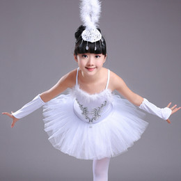 Wholesale Girls Ballet Cotton Dresses - 4pcs white girl Tutu skirt princess dance chiffon skirt fluffy chiffon skirt girl ballet dancing dress party clothing free shopping