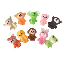 Wholesale Stuffed Dolls Monkey - 10PCS Mini Baby Toys Cute Cartoon Embroidery Fox Monkey Animal Finger Puppet Plush Toys Child Baby Favor Dolls Boys Girls Finger Puppets 467