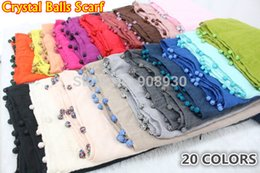 Wholesale Solid Cotton Hijabs - Wholesale Crystal Balls Plain Hijabs For Women Cotton Viscose Scarf Shawl Solid Shining Beads Custom made Design Ladies Muslim Head Wrap