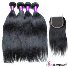 Wholesale Cheap Great Hair - Cheap Human Hair Weave 4 Bundles With Closure Straight Peruvian Virgin Hair Straight Hair Extensions Bundles 7A Great Quality