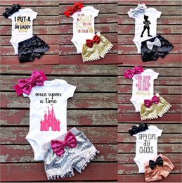 Wholesale Baby Girl Jumpsuit Summer - Baby Girls Outfits Letter Infant Rompers Sets Newborn Clothing Sets Kids triangle jumpsuit +paillette shorts+bow Hair band 3pcs set C1524