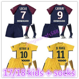 Wholesale Paris Kids - top quality 2017 2018 NEYMAR JR jersey Paris soccer jerseys kids kit + socks DI MARIA Home Away 17 18 Germain Child jerseys footbll set