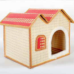 Wholesale Small Dog Houses - Summer Bamboo Weaving Pets Nest Bamboo Weaving Kennel The Cat Litter House Pets Articles Dog Cage