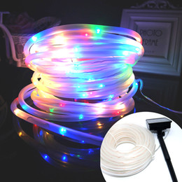 Wholesale Solar Powered Green Light - Holiday decoration Solar powered Led tube string lights 23ft 50 LED multi-color waterproof copper wire in clear tube for Christmas garden