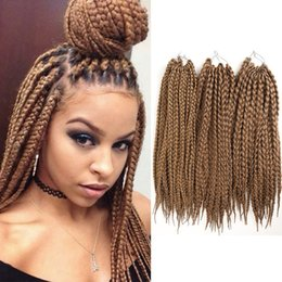 Wholesale Brown Hair Extentions - Box Braids Crochet Synthetic braiding Hair Black Brown Twist Hair Extentions High Temperature Fiber 18inch 12roots 1PCS