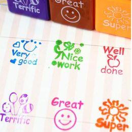 Wholesale School Stamps - 6pcs set Teachers Stampers Self Inking Praise Reward Stamps Motivation Sticker School Cartoon Kids Stamp DIY Diary Carved Gift