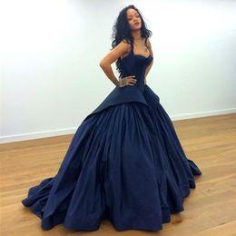 Wholesale Plus Size Taffeta Formal Dress - Rihanna Zac Posen Celebrity Red Carpet Evening Dresses 2017 Sexy Peplum Dark Navy Gothic Taffeta Plus Size Arabic Formal Prom Occasion Gowns