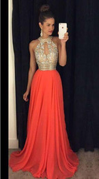Wholesale Elegent Long Dresses - 2017 Cheap custom made Elegent Crystals Prom Dresses High Neck Evening Dresses Bridesmaid Dresses Orange Long Evening Gowns Sexy Ball Gowns