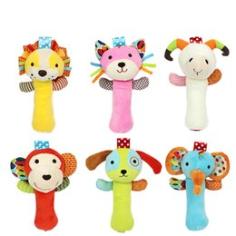 Wholesale Cute Toddler Toys - Wholesale- 6Style 12*20cm Animal Baby Rattles Handbell Educational Toys Cute Elephant Lion Cat For Toddlers Baby Soft Plush Toy Baby Toys