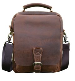 Wholesale Ipad Mini Horse Leather - Wholesale- Men's Crazy horse leather shoulder bag leather handbag for men outside pocket can hold ipad mini Real leather messenger bag