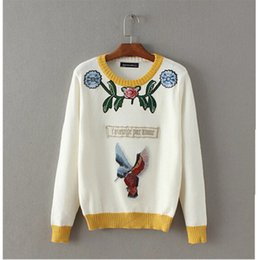 Wholesale flower applique sweater - Wholesale-2016 Appliques Bird Flower Embroidery Sweater New Women O neck Contrast color Knitwear Jumper Pullovers kleding jerseis femme