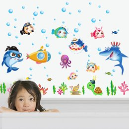 Wholesale cute animal wall decals - Wall Stickers Cute Cartoon Animal Underwater World Vinyl Sticker Colorful PVC Decal Decor Kid Baby Room Hot Sell 2 5jz J R
