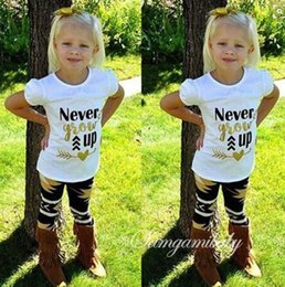 """Wholesale Grow Cotton - Low Price INS Little Girls """"Never Grow Up"""" Letter Print T-shirt and Maple Leaves Pants Outfit 0-4years free ship"""