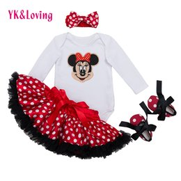 Wholesale green pettiskirt baby - Wholesale- Infant Clothing 4pcs sets White Long Sleeve Rompers Red Tutu Skirt Ruffle Pettiskirt Shoes Headband Baby Girls Clothes YK&Loving