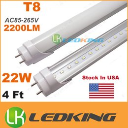 Wholesale T8 Led Free Shipping - Stocked In USA T8 LED Tube Light 22W 4ft 1200mm replace fluorescent led bulb SMD2835 AC110-277V UL DLC CE FCC free shipping 25+