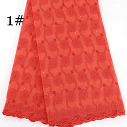 Wholesale Embroidered Cotton Voile Fabric - African swiss voile lace high quality wedding lace African Fabric 5 Yards 100% Cotton Swiss Voile Lace Free Shipping blx1045 Red