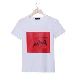 Wholesale Wholesale Designer Shirt - Wholesale-2016 Summer Designer Fashion Brand Emoji T Shirt Womens ALL YOU NEED IS Letter Print O-neck Short Sleeve Harajuku Tee Shirt Tops
