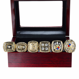 Wholesale Championship Boxing - 6PCS With Wooden box Newest Men fashion sports collection jewelry Pittsburgh Steel ers championship rings set fans souvenir gift