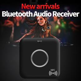 аудио выход приемника bluetooth Скидка мода NFC Bluetooth 4.1 беспроводной аудио приемник 3.5 мм музыка стерео выход Aux динамик адаптер высокое качество DN001