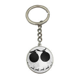 Wholesale Skull Keychains - 10 Style Nightmare Before Christmas Anime Glass Photo Keychains Jewelry Steampunk Skull Body Statement Best Friend Weekend Deal NS62