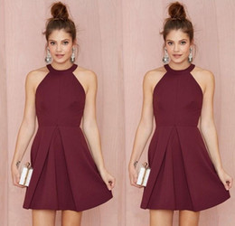 Wholesale Red Line Cocktail Dress - Sexy Short Cocktail Party Dresses 2017 Halter Backless Burgundy A Line Above Knee Length Prom Homecoming Gowns Custom Made Women Formal Wear