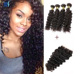 Wholesale peruvian deep wave virgin hair - Brazilian Deep Curly Virgin Hair 4 Bundles With Lace Closure Color 1B Black Peruvian Malaysian Mongolian Raw Indian Curly Human Hair Weft