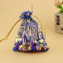 Wholesale Drawstring Bag Satin Blue - 1000Pcs lot 7*9cm Blue Gold Rose Drawstring Organza Jewelry Organizer Pouch Satin Christmas Wedding Gift Bag Jewelry Bag