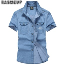 Wholesale Water Shirts For Men - Wholesale- RASMEUP Men Denim Shirts Summer Cotton Water Washing Jeans Shirt Male Short Sleeve Flower Print For Man Tops