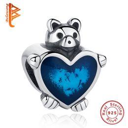 Wholesale Bracelet Enamel Blue - BELAWANG Wholesale Blue Enamel Heart Shape Charm Beads Bear Shape Beads Fit Pandora Charm Bracelet&Necklaces DIY 925 Silver Jewelry Making