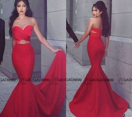 Wholesale Cheap Sequin Fishtail Dress - Red Stain Hot Fashion Arabic Dubai Keyhole Waist Fishtail Prom Party Dresses 2017 Sweetheart Backless Cheap Occasion Dress Evening Wear